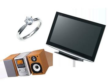 指輪、コンポ、テレビ